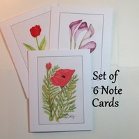 Cards, Flowers, Card Set of 6 Cards from Original Watercolor Paintings