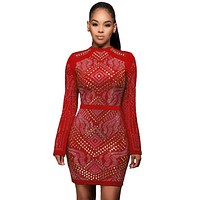 Red Mini Jeweled Quilted Long Sleeves Dress