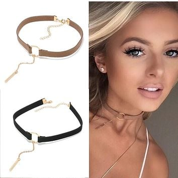 Fashion Leather Geometry Shapes Choker Necklace for Women Girls New Trends