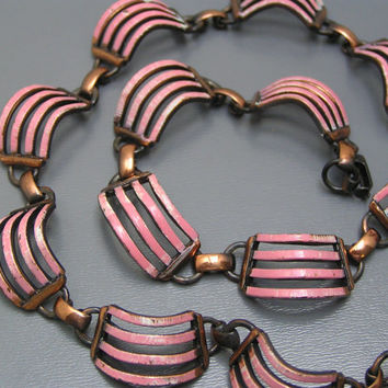 Vintage Modern  Necklace Copper Pink Enamel Ribbed Panel