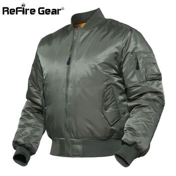 Trendy ReFire Gear MA1 Army Tactical Pilot Bomber Jacket Men Winter Warm Airborne Flight Military Jacket Air Force Airborne Padded Coat AT_94_13