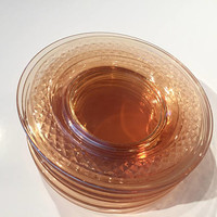 Amber Depression Glass Bread Plates, Set of 8 Vintage Glass Dessert Plates, Peach Glass, Elegant Glassware