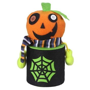 Halloween Cute Cartoon Pumpkin Candy Jar Tin Treat Cookie Storage Container Holder Canister Bucket Bin Gift Box For Kids