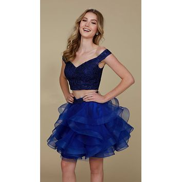 Short Homecoming 2 Piece Dress Sapphire Tulle Poofy Skirt