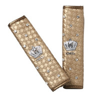 2pcs SYD-DA-6 Luxury Shinning Crown Seat Belt Cover Shoulder Pad Set (Golden)