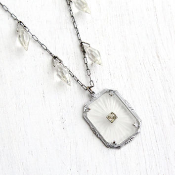 Antique Art Deco Frosted Camphor Glass Necklace- Vintage Silver Tone 1920s 1930s Clear Crystals Paperclip Link Jewelry