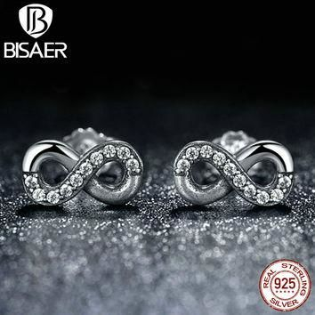 High Quality 925 Sterling Silver Infinite Love Clear CZ Knot Earrings for Women Compat