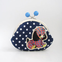 Large Frame Coin Purse -green bead clasp navy polka dots with kawaii dog applique