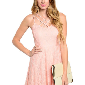 Lace Spaghetti Strap Fit & Flare Cocktail Dress