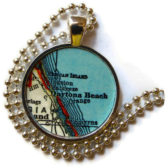 daytona beach florida map necklace from location inspirations
