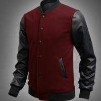 Mens Sports Slim Letterman Jacket