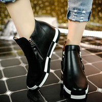 Boots Botas Mujer  Waterproof Platforms Zipper Zapatos Mujer Boots Motorcycle Riding Boots Shoes Size 35-39