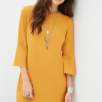 FOREVER 21 Bell-Sleeved Shift Dress Mustard