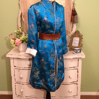 Blue Vintage Coat, Asian Kimono Coat, Long Japanese Jacket, Large M/L, Peacock Blue White, Birds Of Paradise, Multi Wear Coat, Beautiful!