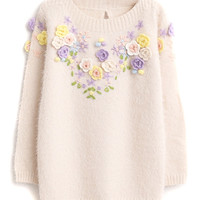Beige 3D Floral Mohair Sweater