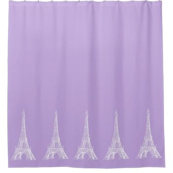 Paris Eiffel Tower Lavender Shower Curtain