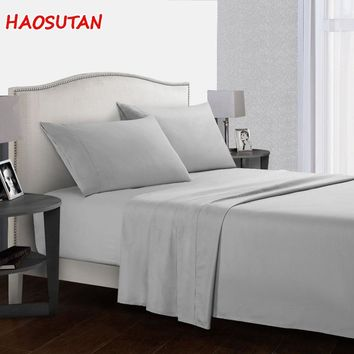 HAOSUTAN Bedding Set Fitted Flat sheet Linens 800 Thread Count 100% Long Staple Soft Cotton Bed Spreads with Pillowcases