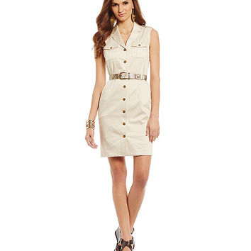 Jones New York Signature Petite Belted Safari Dress | Dillards