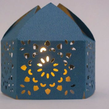 Teal Moroccan Middle Eastern Paper Wedding Lantern with LED Battery Tea Light Candle  Event Decor - Party Favor - Lighting