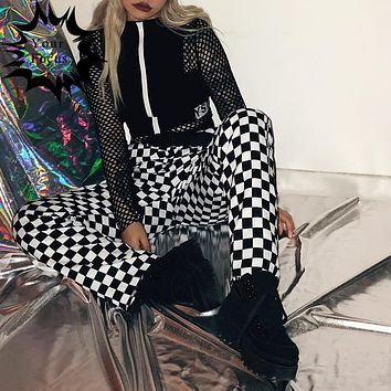 2017 k-pop hiphop old school ins hot style checkerboard black and white plaid pantalon femme loose wide leg pants men and women