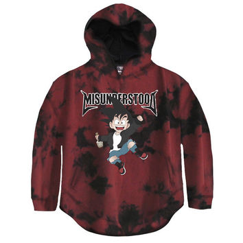 Misunderstood Goku Black & Red Tie Dye Drop Shoulder Curved Hem Hoodie