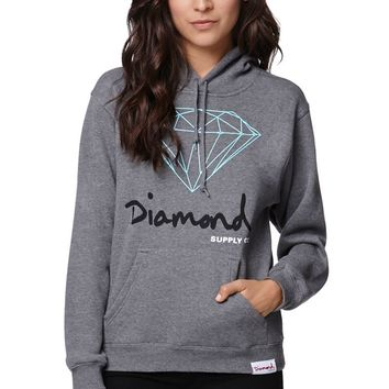 Diamond Supply Co Diamond OG Pullover Hoodie - Womens Hoodie - E. Heather Grey