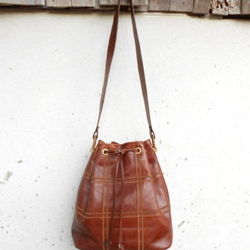 Vintage Cognac Brown MIRAMARE Since 1953 Leather Bucket Bag Leather Shoulder Bag / Medium
