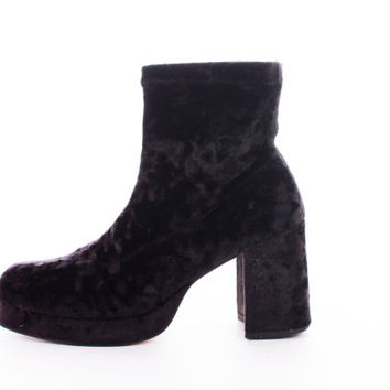 90s Crushed Velvet Platform Boots Chunky High Heel Mod Goth Fabric Vintage Shoes Womens Size US 7 UK 5 EUR 37-38