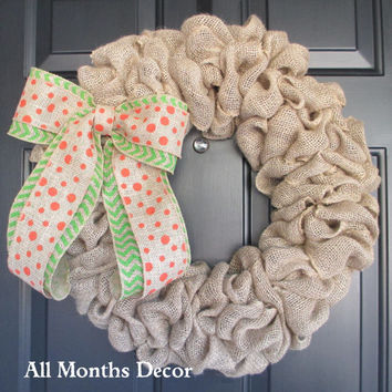 Natural Burlap Wreath with Orange Dot over Lime Green Chevron Burlap Bow, Spring Easter, St. Patrick's, Fall Autumn Door Porch