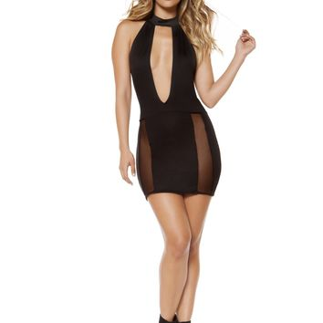Roma RM-3338 Cutout Dress with Sheer Mesh Slit