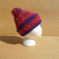 Vintage Stocking Cap with Pom Pom Ski Cap Beanie
