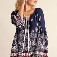 Fall Garden Boho Top - Navy