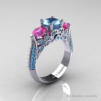 Classic 10K White Gold Three Stone Pink Sapphire Blue Topaz Solitaire Ring R200-10KWGPSBT