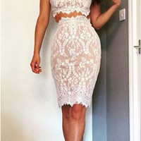 White Lace Strap Crop Top and Skirt