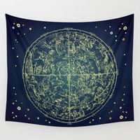 Zodiac Star Map Wall Tapestry by PaperBoundLove