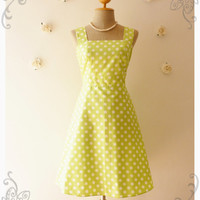 Lime Green Dress Vintage Inspired Dress Vintage Style Bridesmaid Dress Party Polka Dot Retro Dress Summer Dress-Size XS,S,M,L,XL,CUSTOM