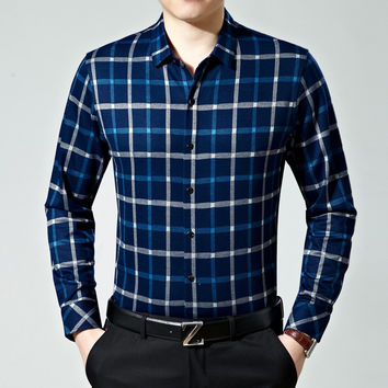 Men Long Sleeve Cotton Men's Fashion Plaid Shirt Blouse [6544601539]
