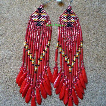 Red Brick stitched Native American inspired Light Shoulder duster earrings
