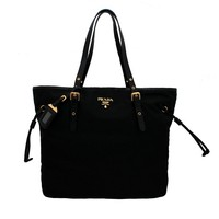 Prada BR4997 Nero Tessuto Suffian Black Nylon and Leather Shopping Tote Bag
