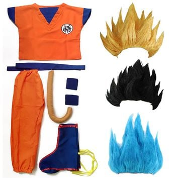dragon ball z goku costume Suit Son Cosplay Costumes For Adult Kids children boys girl kid child wig clothes set fancy halloween