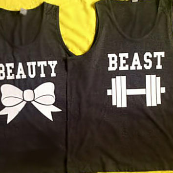 Disney Beauty & The Beast Couples Tank Tops V2