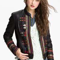Free People Embroidered Faux Leather Jacket | Nordstrom
