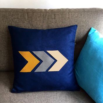 Modern Arrow Navy Decorative Pillow Cover. Chevron 17inch Cushion Cover. Chic New Home Gift. Unisex Housewarming Gift. Home Office Decor