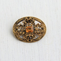 Antique Art Deco Yellow Stone & Seed Pearl Filigree Brooch - 1930s Citrine Yellow Costume Jewelry Pin / Ornate Oval