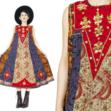1970s Indian Cotton Dress Vintage Embroidered Dress Shisha Mirrors Hippie Boho Folk Festival Dress Red Bib Batik Print Sleeveless Dress (L)
