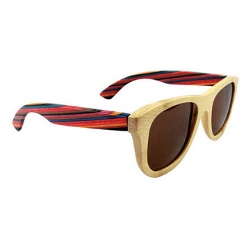 mens womens retro handmade rainbow wood sunglasses + bamboo box gift 27