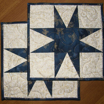 Christmas Star Quilted Candle Mat Blue Gold Cream Quilt Holiday Quilted Mug Rug