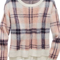 Aerie Women's Plaid Sweater (Soft Muslin)