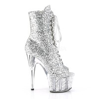 """Adore 1021G  Silver Glitter Open Toe Lace Up Ankle Boot - 7"""" High Heels"""
