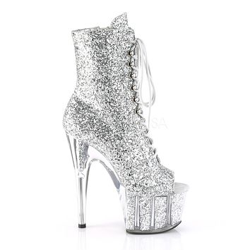 f2fe7cdc2af Adore 1021G Silver Glitter Open Toe Lace Up Ankle Boot - 7